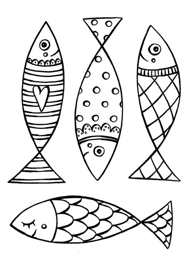 poisson d'avril a colorier