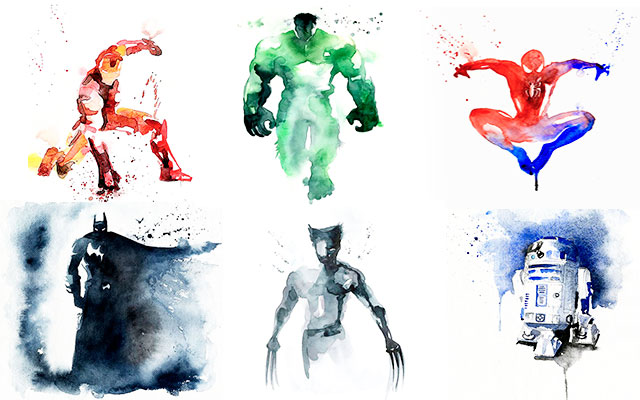 Aquarelle Super hero