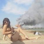 bikini bateau en feu