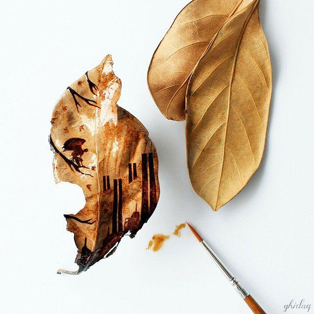peinture cafe sur feuille