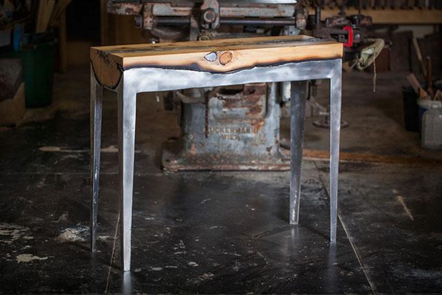 table bois alu