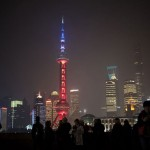 Oriental Pearl Tower TV bleu blanc rouge