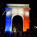 arc dédié à George Washington bleu blanc rouge